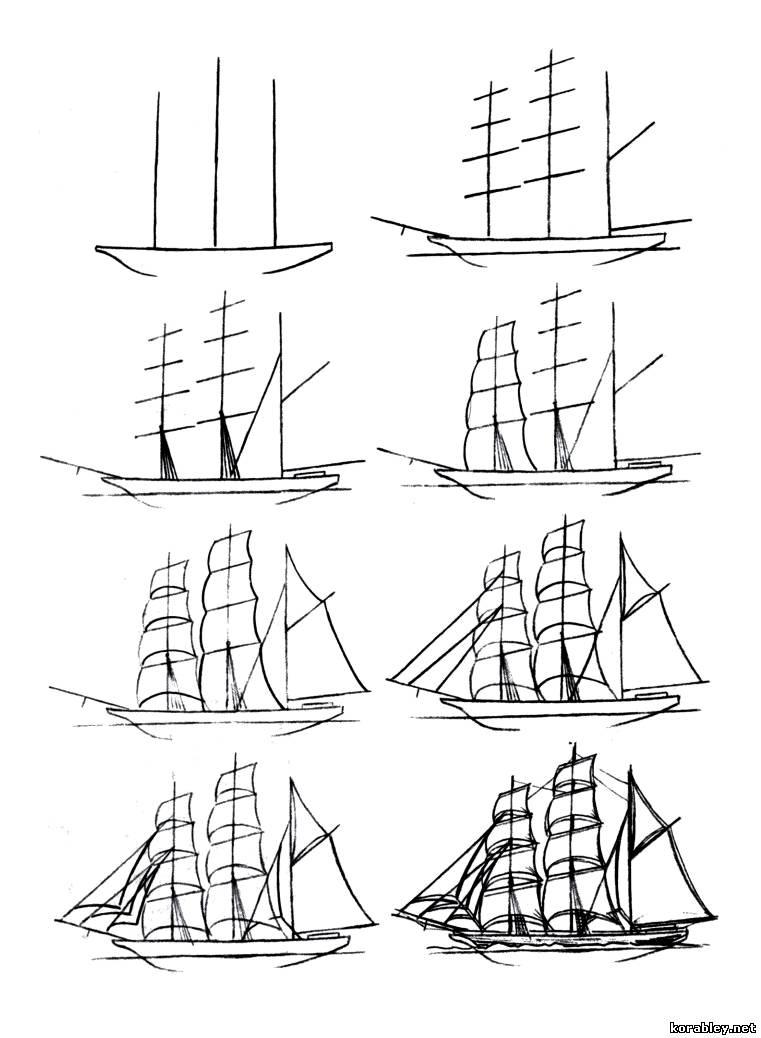 Как нарисовать морской корабль поэтапно 51