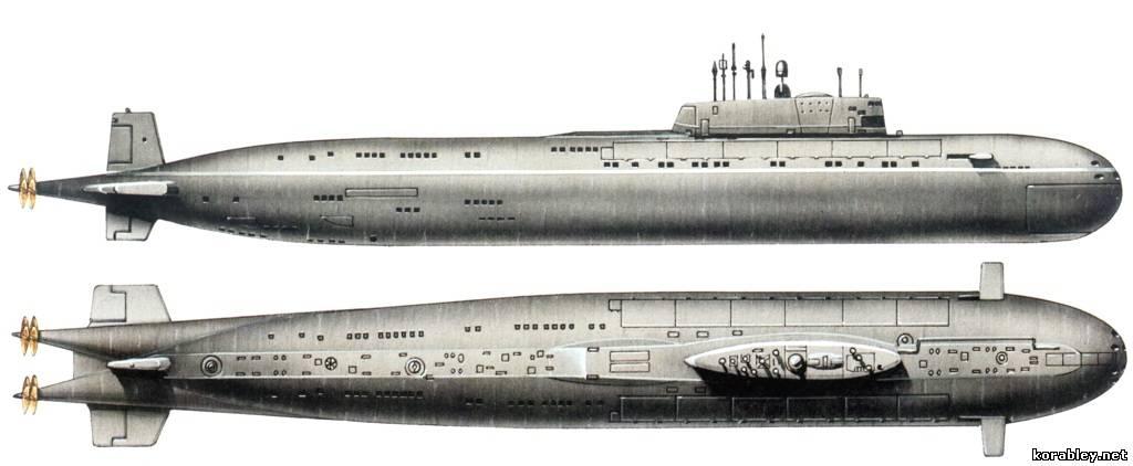 размер атомной подводной лодки курск