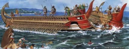 Корабли древних греков (пентеконтор, бирема, триера)